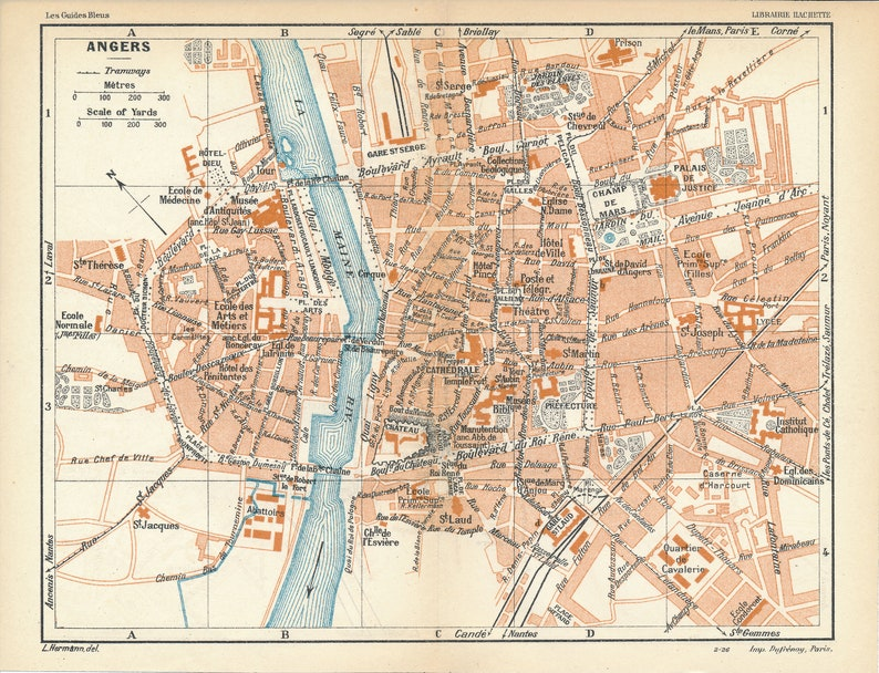 1926 Angers France Antique Map Etsy