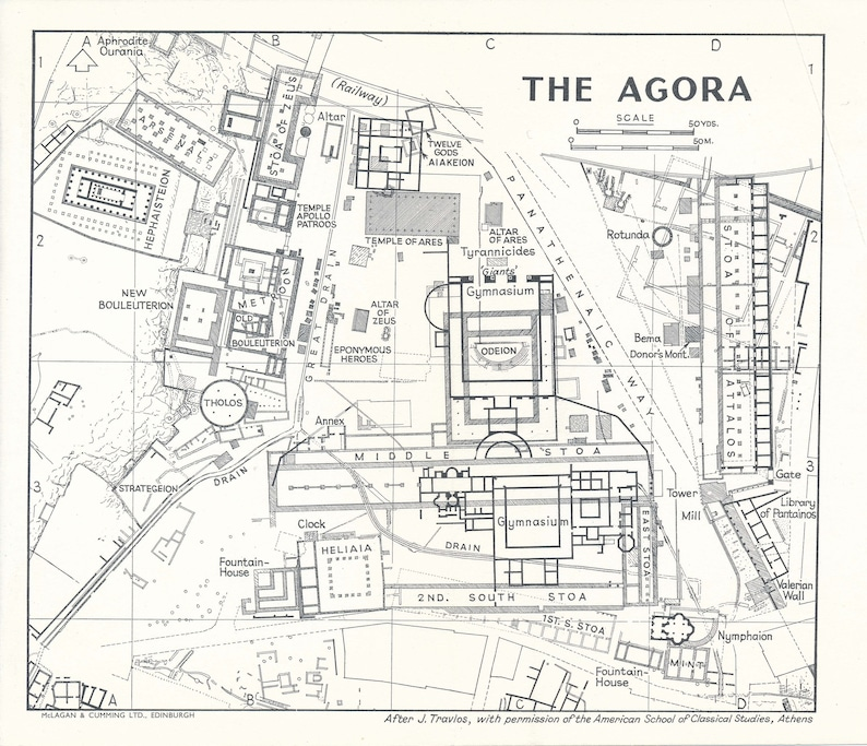 1962 Agora Of Athens Greece Vintage Map