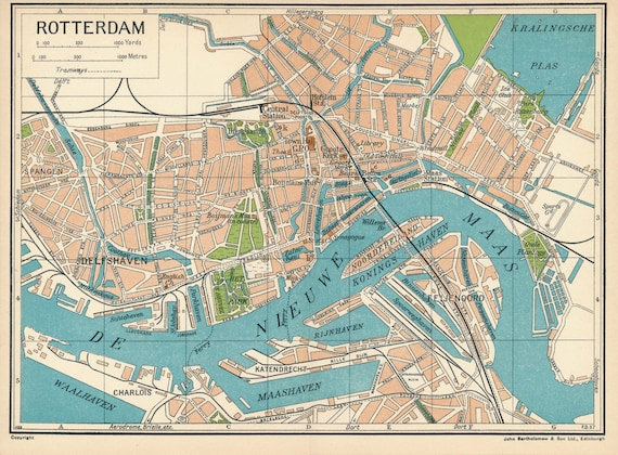 1933 Rotterdam Netherlands (Holland) Antique Map