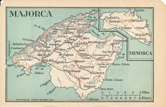 1930 Majorca Spain Antique Map on palma de mallorca, setenil de las bodegas spain map, deia spain map, europe spain map, paris spain map, ripoll spain map, catalan language, jerez de la frontera spain map, canary islands, tuscany spain map, malaga spain map, algarve spain map, usa spain map, netherlands spain map, barbastro spain map, costa del azahar spain map, egypt spain map, ireland spain map, estonia spain map, playa del ingles gran canaria map, gran canaria, sardinia spain map, norway spain map, toulouse spain map,