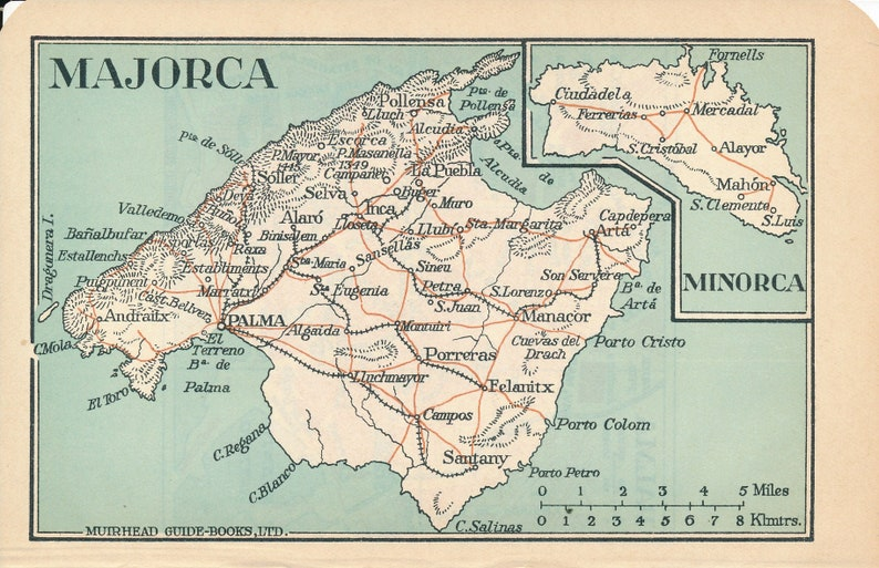 Map Of Spain 1930.1930 Majorca Spain Antique Map