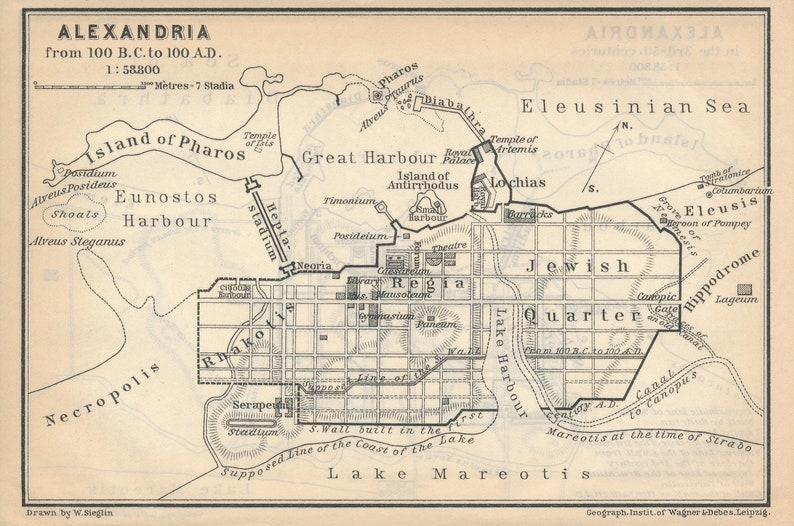 1908 Alexandria Egypt Antique Historical Map Etsy