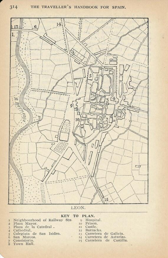Map Of Spain Leon.1924 Leon Spain Antique Map
