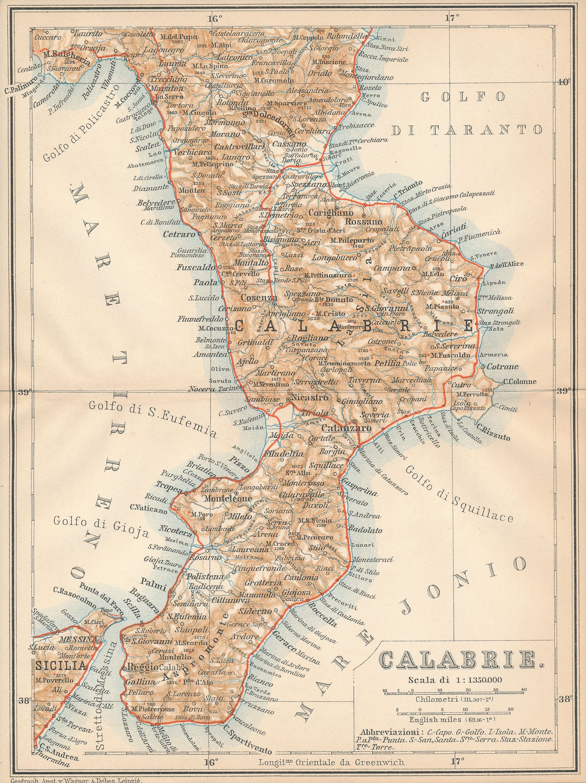 1896 Calabria Italy Antique Map Etsy