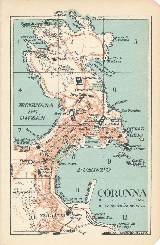 Map Of Spain La Coruna.1930 La Coruna A Coruna Spain Antique Map