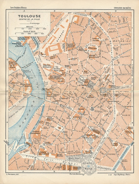 Map Of France Toulouse.1926 Toulouse France Antique Map