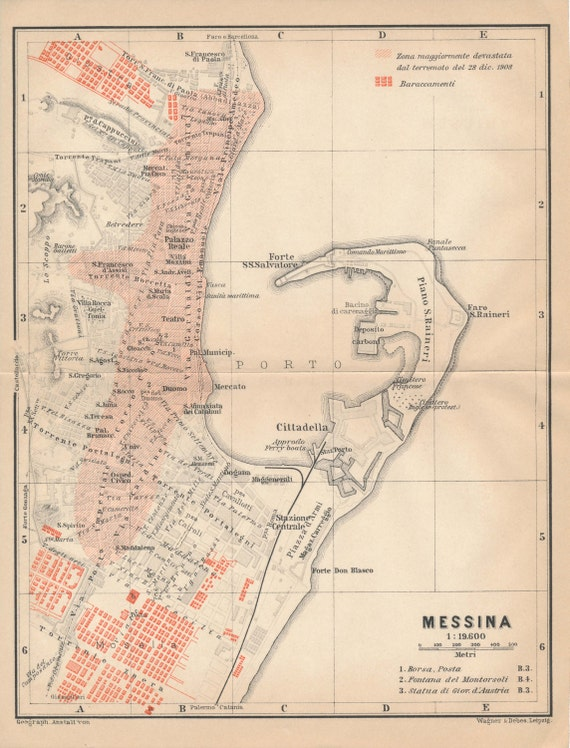 1912 Messina Italy Antique Map