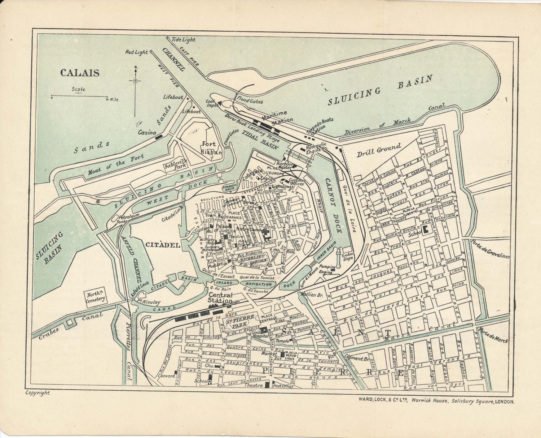 Map Of France Calais.1911 Calais France Antique Map