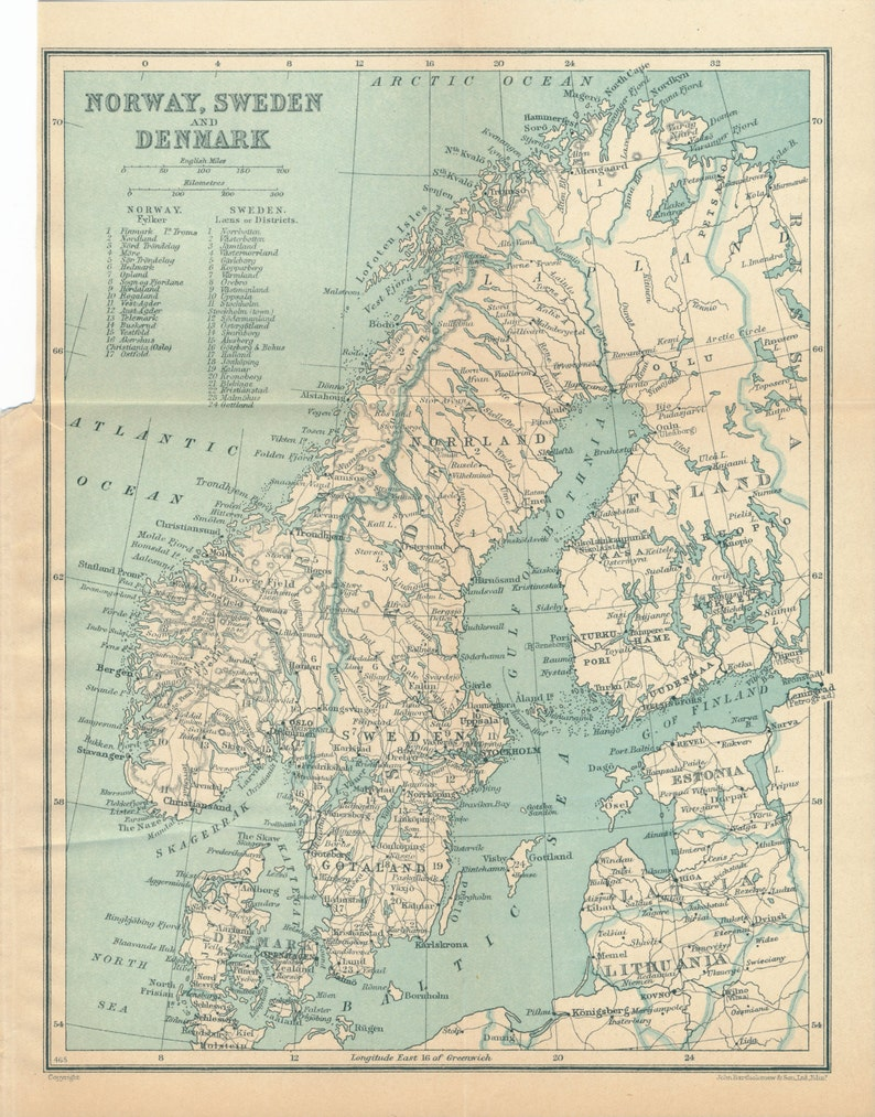 Karte Norwegen Dänemark.1926 Norwegen Schweden Und Dänemark Antike Karte