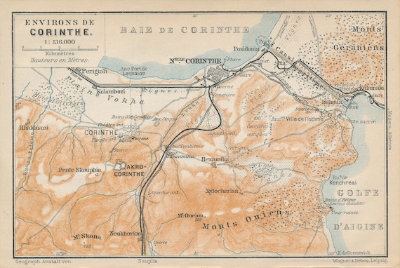1910 Corinth Greece Antique Map Etsy