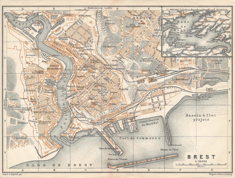 1909 Brest France Antique Map Etsy