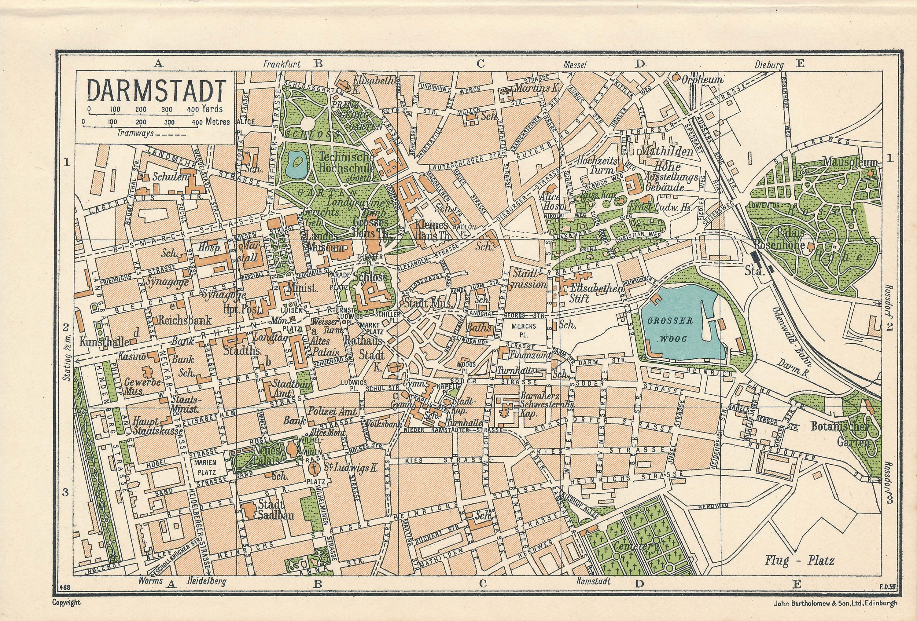 1933 Darmstadt Germany Antique Map Etsy