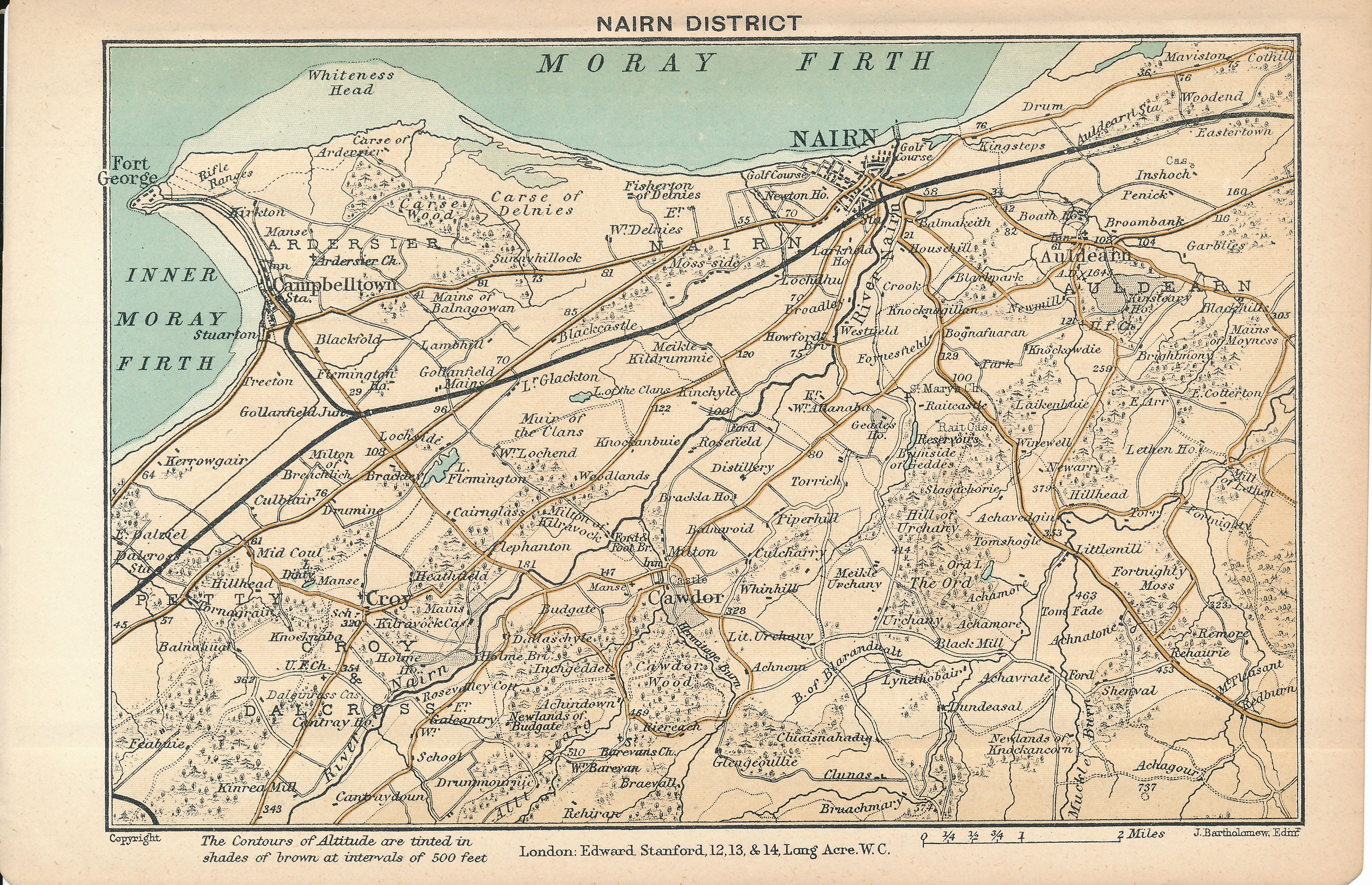 Nairn Scotland Map.1903 Nairn Scotland Antique Map Etsy