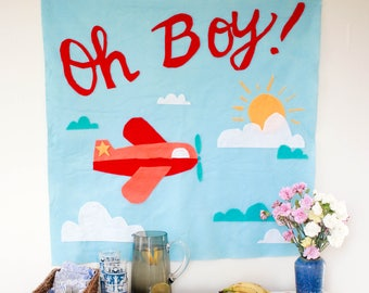 Baby Shower Decorations Travel Theme/Baby Boy Shower Banner/Airplane Baby Boy/Baby Shower Decor/Vintage Baby Shower/Baby Shower Wall Hanging