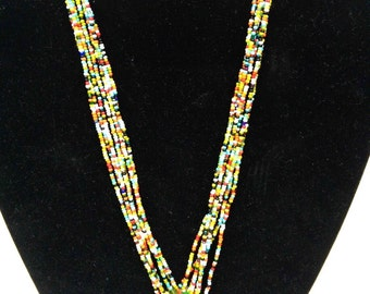 glass bead beaded necklace
