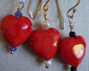 Heart Shaped Glass Bead and gemstone earring choice