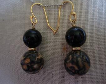 Onyx and Snakeskin Jasper Bead Earrings