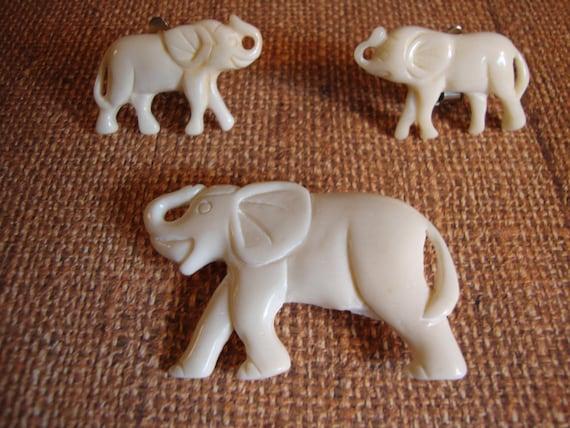 Bone Carved Elephants Brooch Earrings Etsy