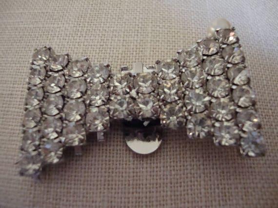 Vintage Silver Rhinestone Shoe Clips SB-0014