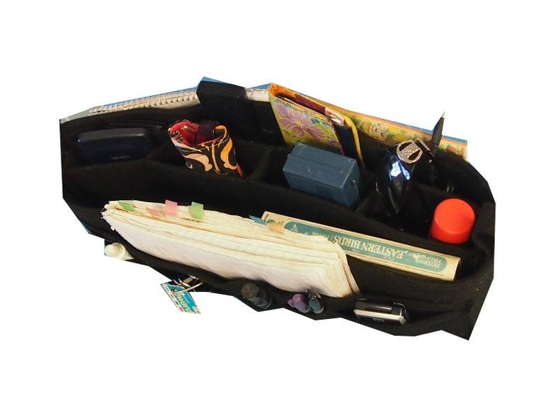 LV purse insert Protector 16l x 6h x 3.5d ...14 Pockets. All In Purse Organizer Insert bottom shaper.. Green Felt insert
