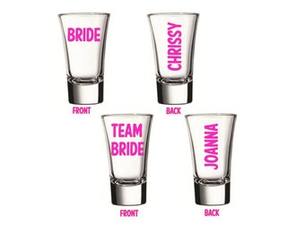Bachelorette Party Shot Glasses, Team Bride Shot Glasses, Bridesmaid Party Shot Glasses, Custom Shot Glasses, Shot Glasses, Bridesmaid Shot