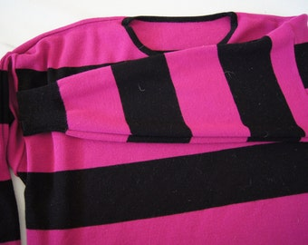e595faeebafd3b Vintage 1980 s - Striped Sweater -Striped Purple Orchid and Black. Soft. No  tag. Women s Large