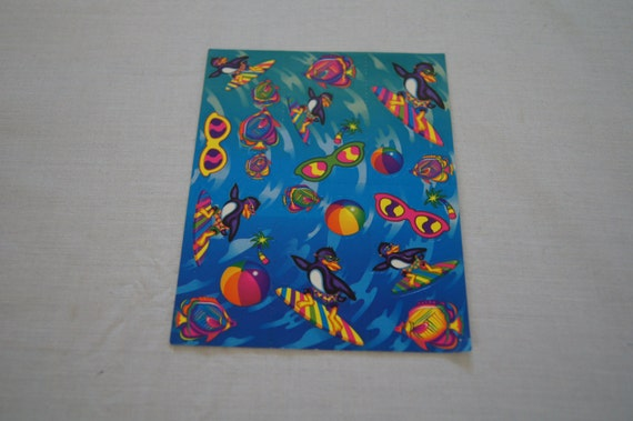 Vintage 1990s Lisa Frank Sheet Of Stickers With Surfing