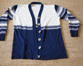Vintage 1970's - Grandfather or smoking Cardigan Blue and white with Nautical Knot Gold Buttons