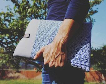 """étui Macbook pro 13 pouces, Housse macbook air 12"""" tissu japonais bleu, Etui ordinateur 11 pouces, sur mesure, Cadeau homme, anniversaire"""