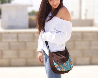 Sac bohème, sac hippie chic, sac en velours, sac bandoulière, sac ethnique, sac velours grosses côtes, sac coloré, sac élégant, cadeau femme