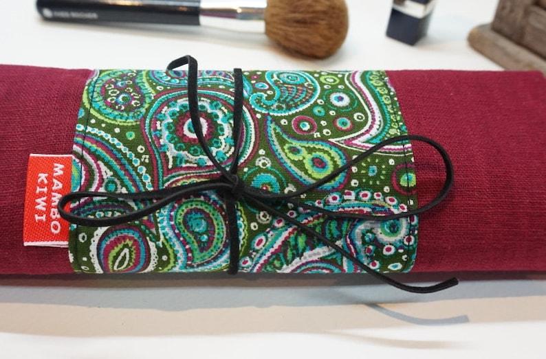 Case rolling brushes range ethnic fabric brushes case Brush Kit vintage rolling strip mother/'s day bordeaux linen