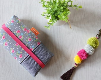 Etui iPhone liberty, Pochette smartphone tissu fleurs, Coque à poches samsung, Housse Lenovo, Housse téléphone tissu liberty, cadeau femme