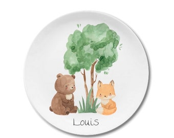 Children's dishes set with name forest animals