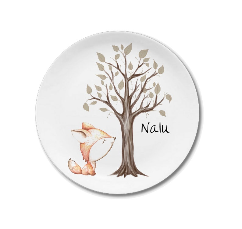 childrens crockery christening gift girl christening gift fox with tree Children/'s plate with name first birthday personalized