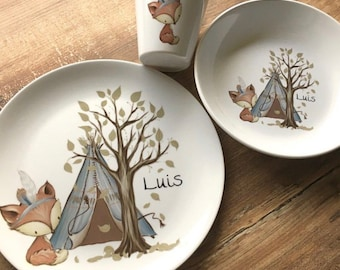 Children's dishes set with name fox