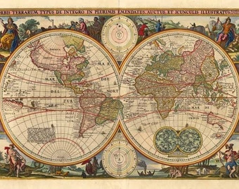 Old World Map   Vintage Reproduction Wall Art Decro Decor Poster Print Any  Size