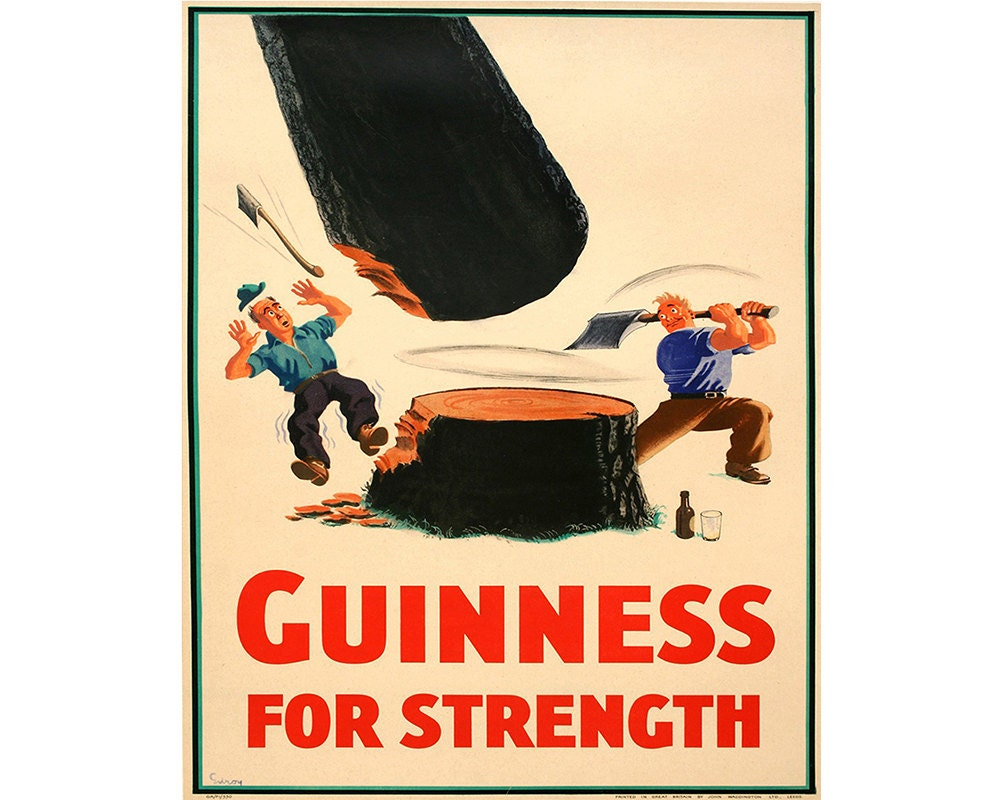 Guinness for strength Vintage Advertising Enamel Metal TIN