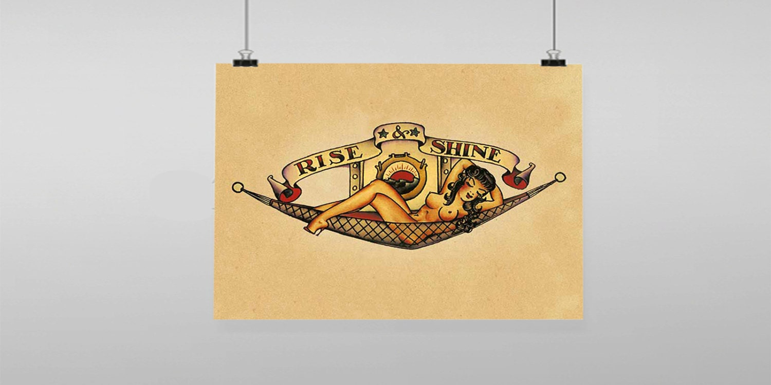 Rise And Shine Pin Up Tattoo Sailor Jerry Vintage