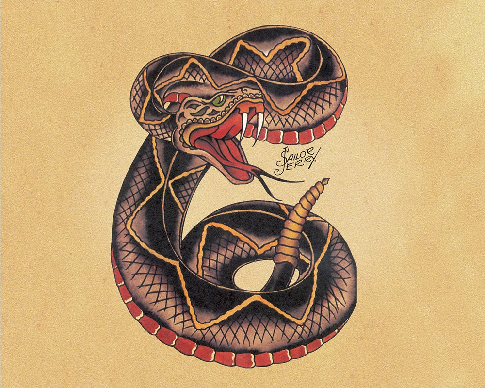 Snake Sailor Jerry Tattoo Enamel Metal TIN SIGN Wall Plaque | Etsy