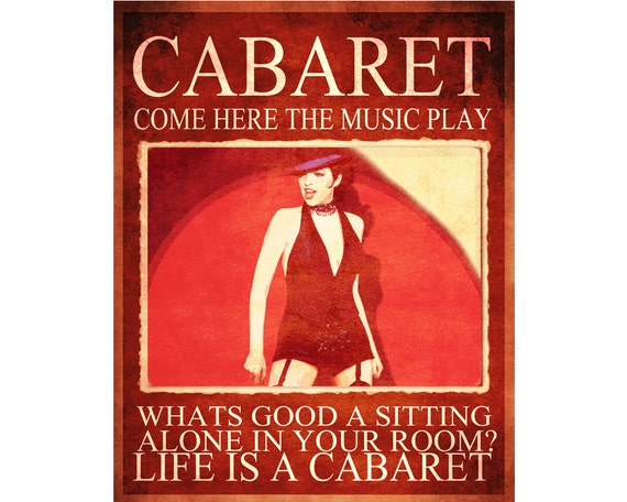 Cabaret Come Hear the Music Play Pub  ENAMEL TYPE METAL TIN SIGN WALL PLAQUE