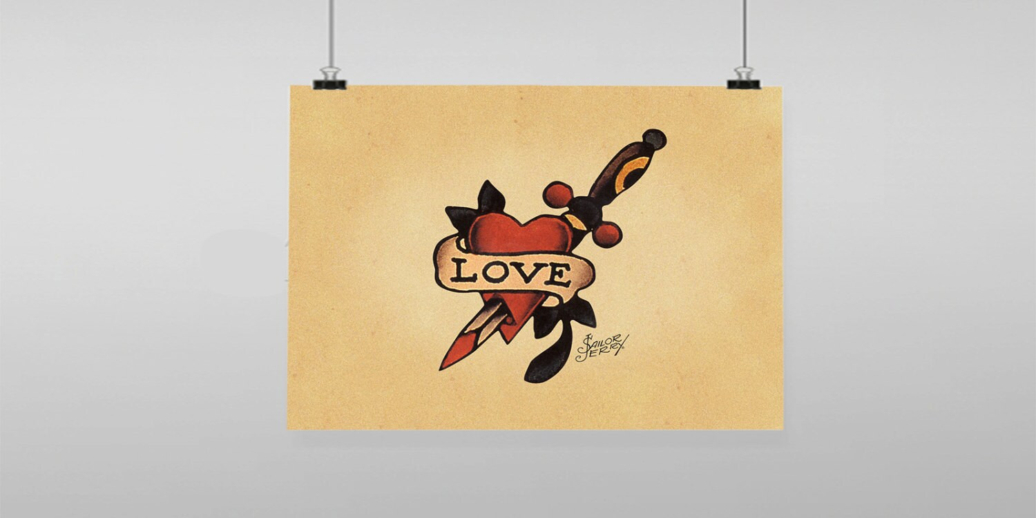 Love Heart knife Tattoo Sailor Jerry Vintage Reproduction