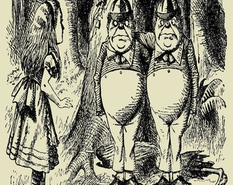 Alice In Wonderland  tweedledee tweedledum Vintage Enamel Metal TIN SIGN Wall Plaque