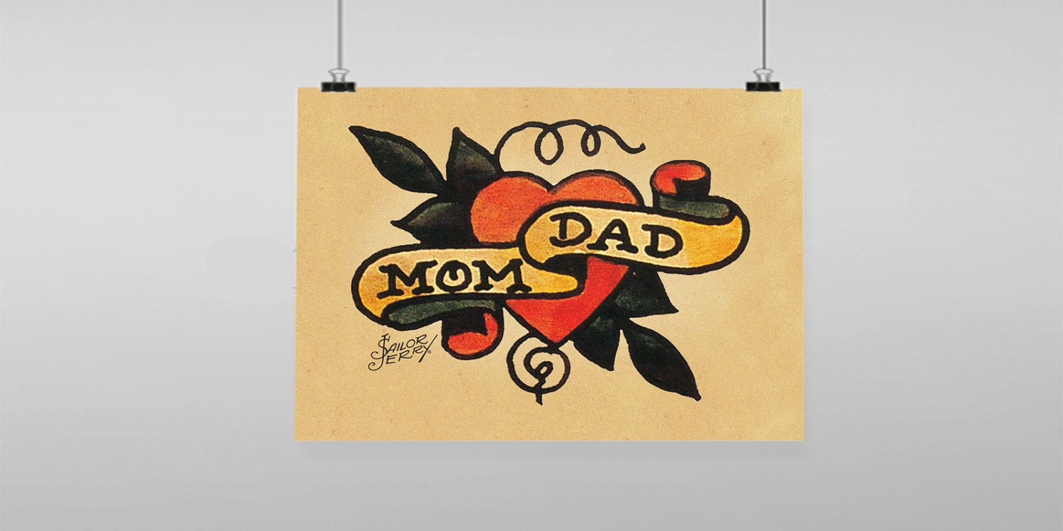 Mom Dad heart Tattoo Sailor Jerry Vintage Reproduction Wall | Etsy