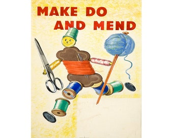 Make Do And Mend Vintage Advertising Enamel Metal TIN SIGN Wall Plaque