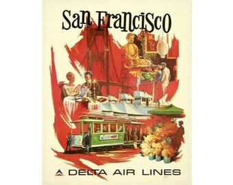 San Francisco Delta Air Lines Vintage Travel  Advertising Enamel Metal TIN SIGN Wall Plaque