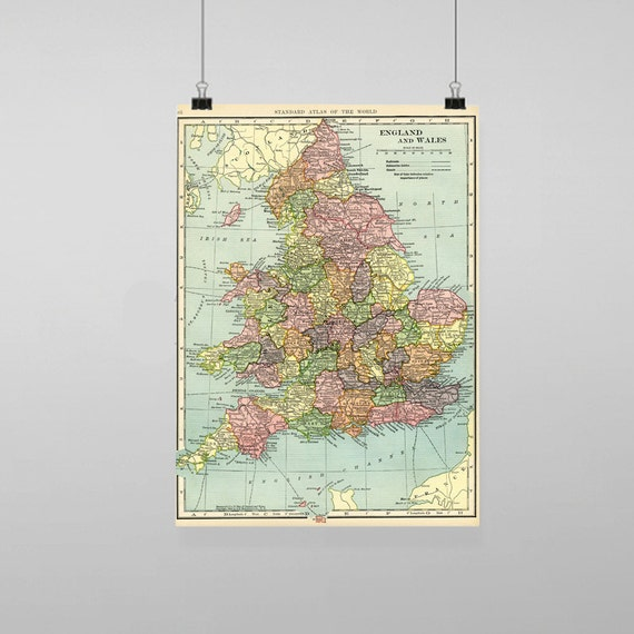 Britain England Map.Britain England And Wales Map Vintage Reproduction Wall Art Etsy