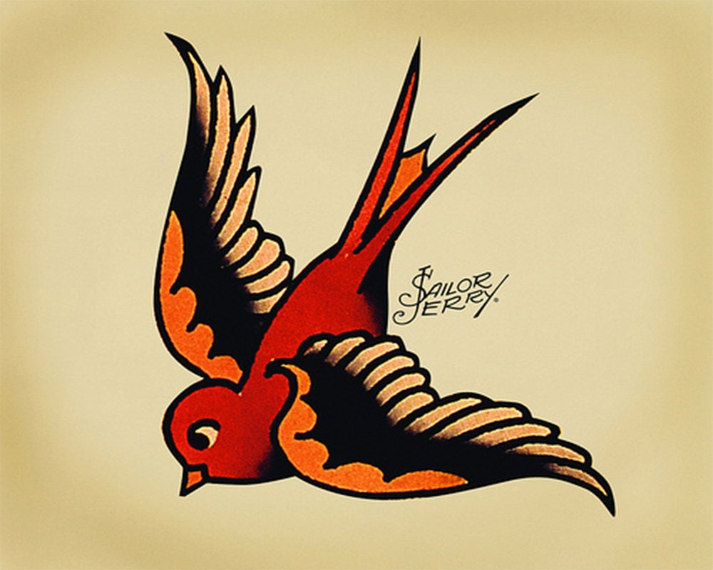 Swallow Sailor Jerry Tattoo Enamel Metal TIN SIGN Wall