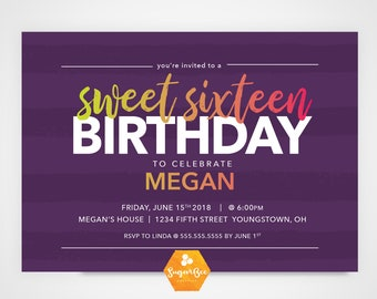 Printable Birthday Invitation Party Celebration Striped Ombre 5x7 PRINTABLE