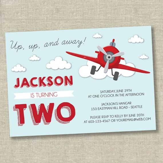 airplane birthday invitation boy birthday invitation first etsy