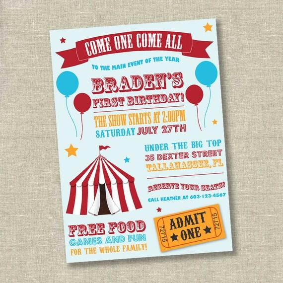 Circus Invitation Carnival Birthday